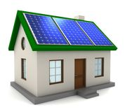 House with solar panel concept 3d illustration. Solar panel concept 3d illustration isolated on white background Royalty Free Stock Images