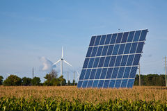 Solar Panel in Corn Field Royalty Free Stock Photos