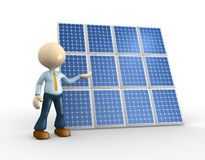 Solar panel. 3d people - man, person with and a solar panel Royalty Free Stock Images