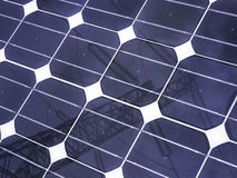 Solar panel. Detail of the fuel cells with pylon mirrored Royalty Free Stock Image