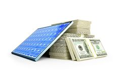 Solar panel dollar. On a white background Stock Photos