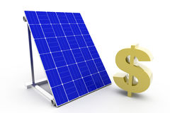 Solar Panel with Dollar Sign Stock Photos