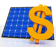 Solar Panel And Dollar Sign Shows Saving Energy Stock Photos