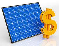 Solar Panel And Dollar Sign Shows Saving Money Royalty Free Stock Image