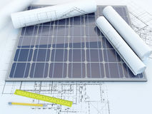 Solar panel and drawing Royalty Free Stock Image