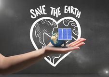 solar panel and earth on hand. Black wall background with save earth graffiti Stock Illustration