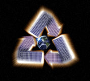 Solar Panel Earth Recycle. Giant glowing recycle symbol floating in outerspace, save planet earth, Elements of image provided by NASA Royalty Free Stock Images