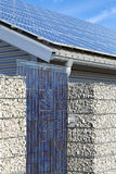 Solar panel electric system, roof and fence Stock Images