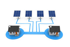 Solar panel electricity supply to house Stock Photography