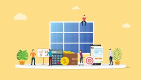 Solar panel energy business electric saving financial alternative efficient for cheaper solutions with team people work together. Vector illustration royalty free illustration