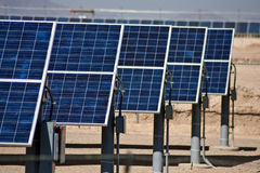 Solar panel energy collector farm Stock Photos