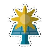 Solar panel energy environment symbol -cut line Stock Image