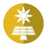 Solar panel energy environment symbol-shadow circle Royalty Free Stock Photos