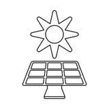 Solar panel energy environment symbol thin line Royalty Free Stock Photo