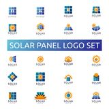 Solar panel energy logo set. business green energy concept desig. N Royalty Free Stock Photos
