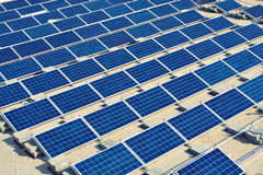 Solar panel energy plant on flat roof Stock Image