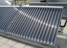 Solar panel. The solar energy is a renewable energy source for water heating Royalty Free Stock Photography