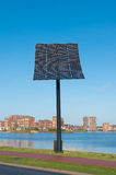 Solar panel. Entrance of Heerhugowaard in the netherlands, the city of the sun. It is the largest energy neutral residential area in the world. It produces as stock photography