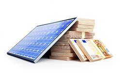 Solar panel euro. On a white background Stock Photography