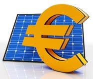 Solar Panel And Euro Shows Saving Energy Stock Photo
