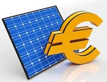 Solar Panel And Euro Shows Saving Money Stock Image