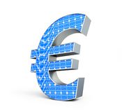 Solar panel euro sign. On a white background Royalty Free Stock Images