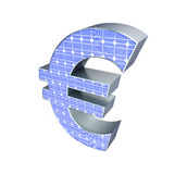 Solar panel euro sign. On a white background Stock Image