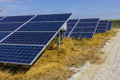 Solar Panel Farm. Corn Fields are Being Converted into Green Energy Areas Using Photovoltaic Cells VIII Royalty Free Stock Photos