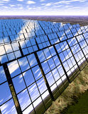 Solar panel farm in countryside. 3D rendered solar panel farm in English-type countryside Royalty Free Stock Photos