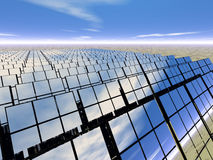Solar panel farm in the desert. 3D rendered solar panel farm in the desert Royalty Free Stock Image