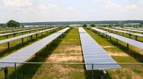 Solar Panel Farm. Multiple Solar Panels provided millions of watts of power to the area, outside Memphis, Tennessee Royalty Free Stock Photo