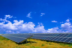 Solar panel in a field Royalty Free Stock Image