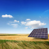 Solar panel on a field royalty free stock image