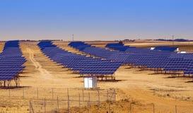 Solar panel field in Asturias Spain Stock Photos