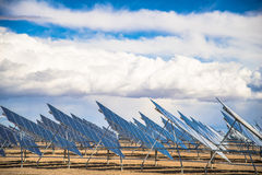 Solar Panel Field in Desert Stock Photography