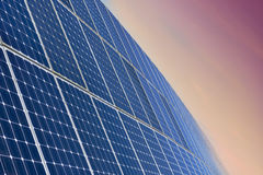 Solar Panel Field By Sunrise Royalty Free Stock Photos