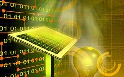 Solar panel and filament bulb. Digital illustration of a solar panel and filament bulb Stock Photo