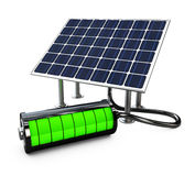 Solar panel with full battery, isolated on white background 3d illustration. Royalty Free Stock Photography