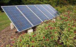 Solar panel in a garden stock photos