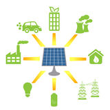 Solar panel generating alternative energy stock illustration
