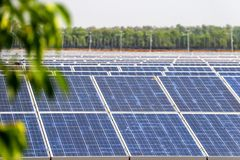 Solar panel generating electricity clean energy. Eco power, Photovoltaic, Alternative electricity source, Solar panel generating electricity clean energy with stock photo