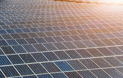 Solar panel generating electricity clean energy. Eco power, Photovoltaic, Alternative electricity source, Solar panel generating electricity clean energy with stock photography