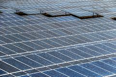 Solar panel generating electricity clean energy stock images