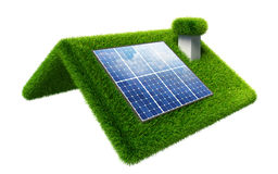 Solar panel on grasss roof isolated on white Stock Photography