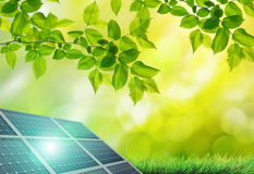 Solar panel in the green Royalty Free Stock Photography