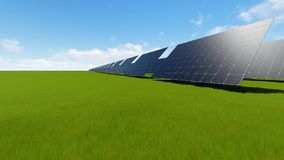 Solar panel on green field time lapse stock footage