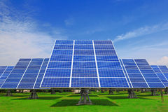 Solar Panel with green grass and beautiful blue sk Royalty Free Stock Photography