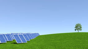 Solar Panel with green grass and beautiful blue sky Royalty Free Stock Images
