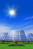 Solar Panel with green grass and blue sky Stock Photography
