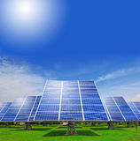 Solar Panel with green grass and blue sky Royalty Free Stock Photos